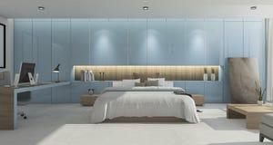 3d представляя широкую красивую голубую спальню с полом просторной квартиры Стоковые Фотографии RF