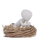 3D проиллюстрировало человека усаженного в огромное гнездо Стоковая Фотография
