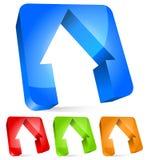 3d расквартировывает современный значок, принципиальные схемы недвижимости домашние иллюстрация вектора