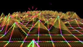 3D резюмируют анимацию местности wireframe полигона звуковой войны золота триангулярной геометрической двигая в абстрактную волну иллюстрация штока