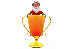 3d Санта Клаус в концепции чашки Стоковые Изображения