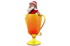 3d Санта Клаус в концепции чашки Стоковые Фото