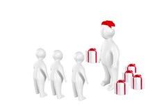 3D Санта Клаус и дети Стоковые Фото