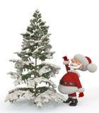 3d Санта Клаус с елью Стоковое фото RF