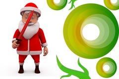 3d Санта Клаус с иллюстрацией шпаги Стоковые Изображения RF