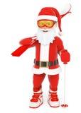 3D Санта Клаус с лыжным оборудованием Стоковое фото RF
