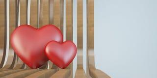 2 3d сердце на деревянном стуле, концепция влюбленности Стоковые Изображения
