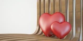 2 3d сердце на деревянном стуле, концепция дня валентинки Стоковая Фотография RF