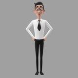 3d смешной характер, бизнесмен шаржа участливый смотря стоковое изображение rf
