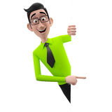 3d смешной характер, бизнесмен шаржа участливый смотря Стоковые Фото