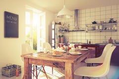 3d - современный интерьер кухни - снятые 03 - ретро взгляд Стоковые Фотографии RF