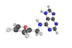 3d структура Kinetin, тип цитокинина, класс инкрети завода Стоковое Изображение RF
