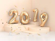 3d сцена стены золота текста/номера воздушного шара перевода 2019 геометрическая угловая иллюстрация вектора