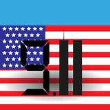 3d флаг США Башни Близнецы одиннадцатое -го сентябрь 9 11 вектор Стоковое фото RF