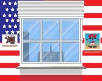 3d флаг США Близнец башни 9 11 вектор Взгляд от окна Стоковые Изображения
