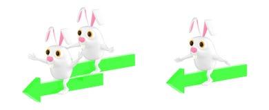 3d характер, характеры кролика сидя на различных стрелках которые водят к направлениям одному иллюстрация вектора