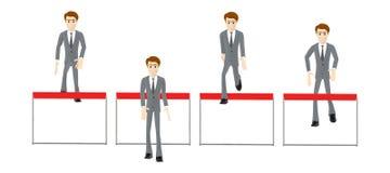 3d характер, человек поскакал через барьер и другое скача через барьеры иллюстрация вектора