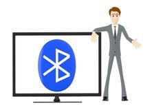 3d характер, человек представляя ТВ при знак bluetooth показанный в экране иллюстрация вектора