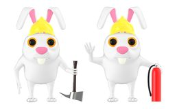 3d характер, шлем безопасности кролика нося держа ось и гаситель сдерживающего огня иллюстрация вектора