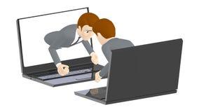 3d характер, handshaking человека через экран компьтер-книжки иллюстрация вектора