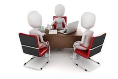 3d человек, деловая встреча, собеседование для приема на работу Стоковые Фотографии RF
