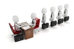 3d человек, деловая встреча, собеседование для приема на работу бесплатная иллюстрация