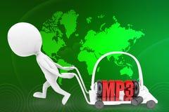3d человек mp3 на иллюстрации pushcart Стоковая Фотография