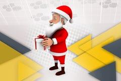 3d человек santa с иллюстрацией подарков Стоковое Изображение