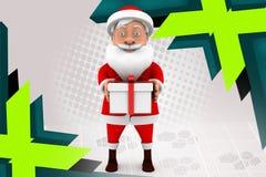 3d человек santa с иллюстрацией подарков Стоковое Фото