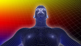 3D человек Wireframe на Multicolor предпосылке Стоковое Изображение RF