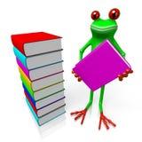 3D лягушка с книгами - концепция знания иллюстрация вектора
