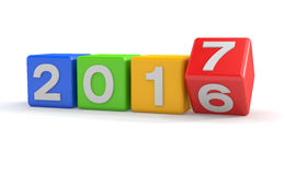 3d - 五颜六色新年2017年的概念-立方体- 免版税图库摄影