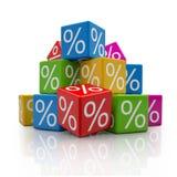 3d - 五颜六色百分之的立方体- 图库摄影