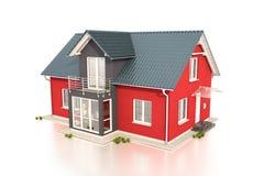 3d - 单身家庭的房子 免版税库存照片