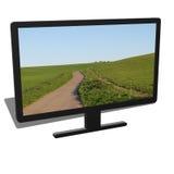 3d黑台式计算机的例证 库存图片