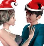 3d年轻圣诞节夫妇 免版税库存照片