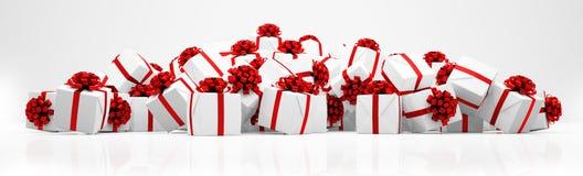 3d - 圣诞节礼物-全景 免版税库存照片