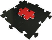 3d 在黑和红色的拼图 库存例证
