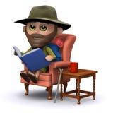 3d读在他的扶手椅子的探险家一本书 向量例证