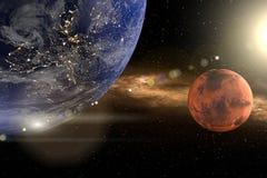 3d从地球的翻译作为与行星的特写镜头在背景中毁损和太阳 库存例证
