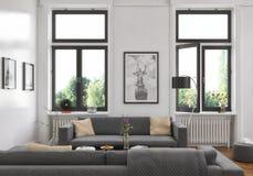 3d - 客厅-内部概念 免版税库存图片