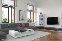 3d - 客厅-内部概念 免版税库存照片