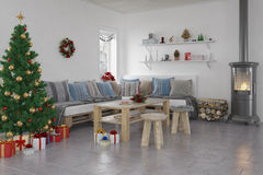 3d - 客厅-圣诞节 免版税库存图片