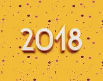 3D 2018年标志、象或者按钮在黄色背景,代表新年2018年 免版税库存图片