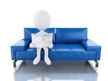 3d读报纸的白人,坐扶手椅子 免版税库存图片