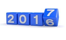 3d - 新年2017年概念-立方体-蓝色 库存照片