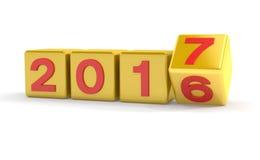 3d - 新年2017年概念-立方体-金子 免版税库存照片