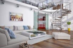 3d - 有画廊的现代顶楼 免版税库存图片