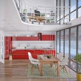 3d - 有画廊的现代顶楼 库存照片