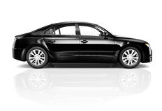 3D黑汽车的图象 免版税库存照片